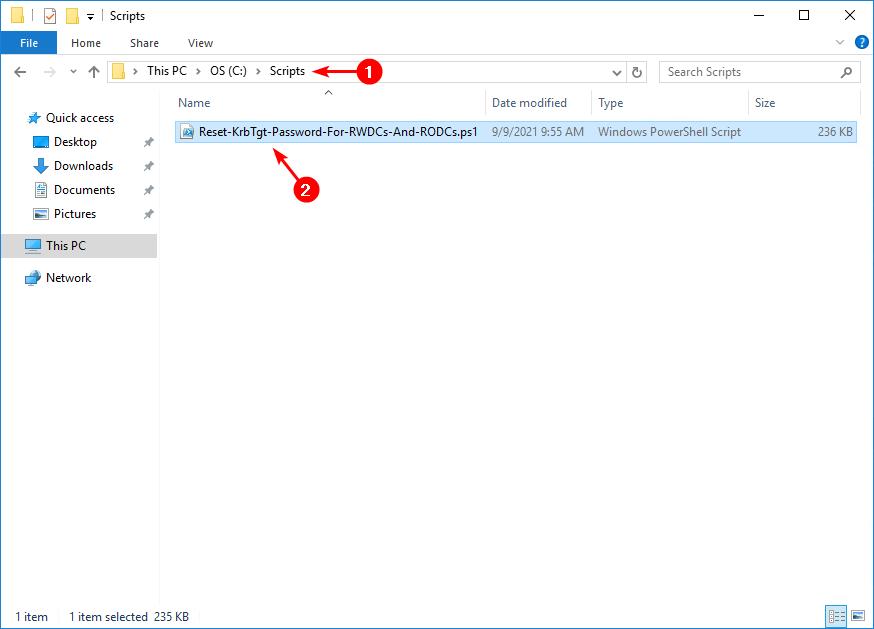 KRBTGT account password reset scripts folder