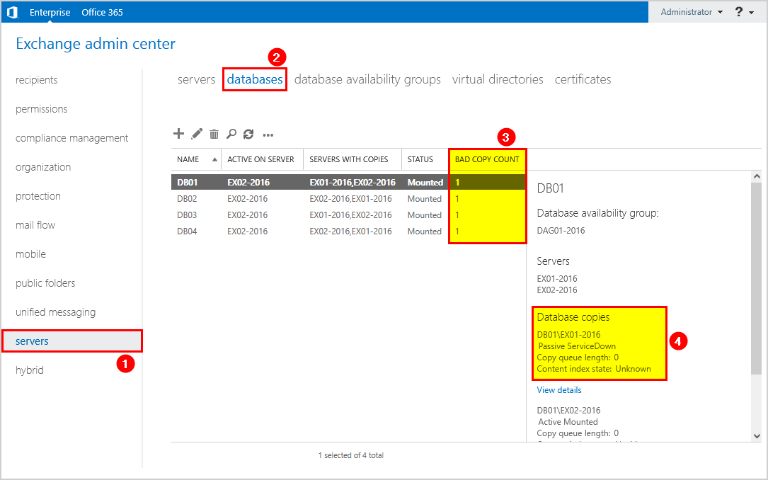 Database copies service down