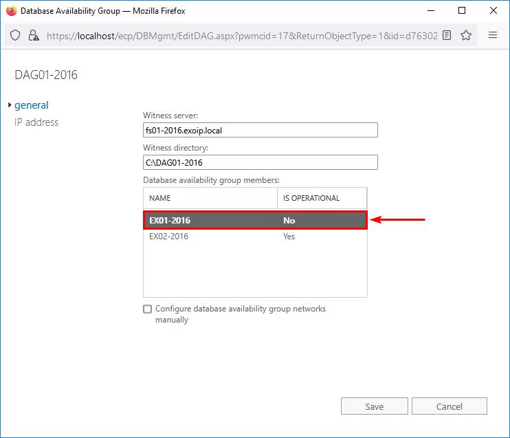Mailbox server member not operational
