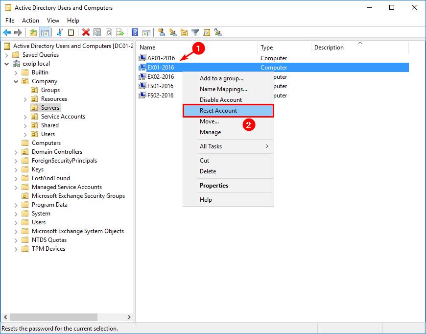 Reset Exchange Server computer account