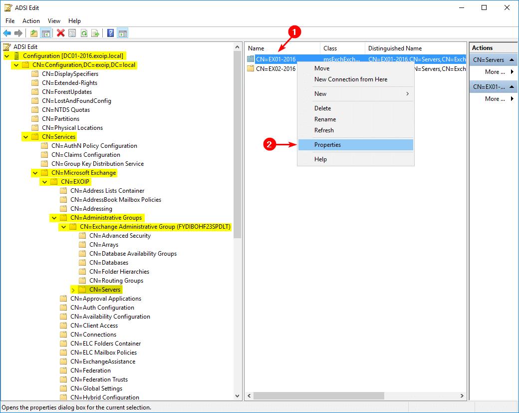 ADSI Edit Exchange server properties