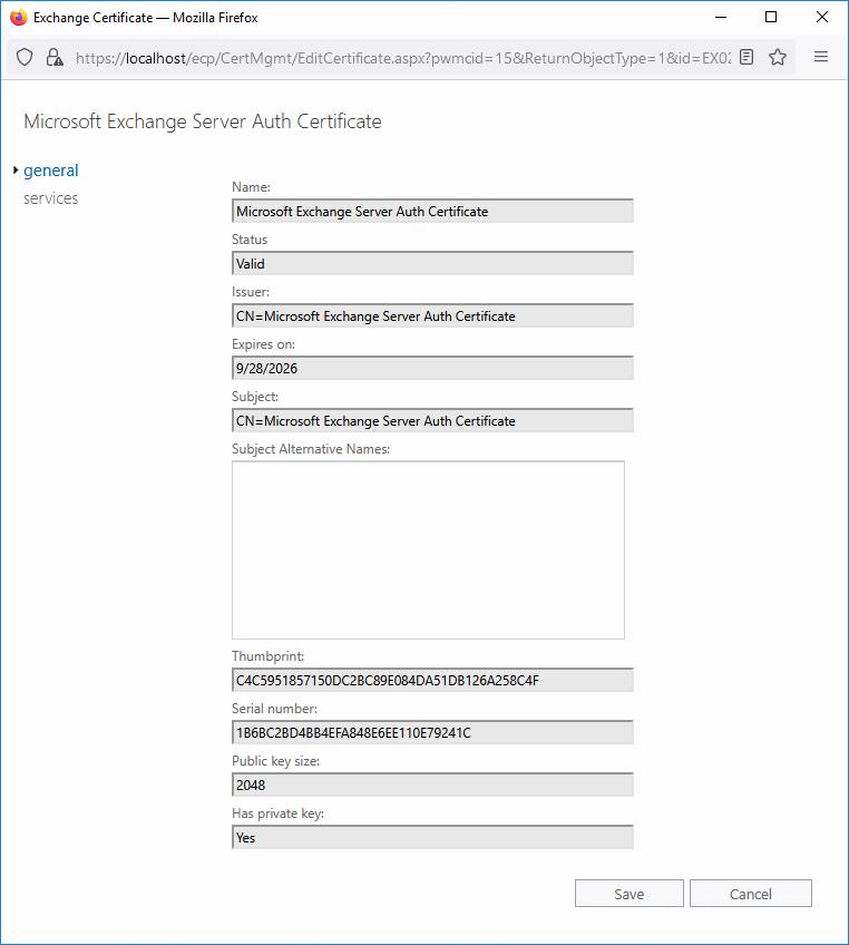 Renew Microsoft Exchange Server Auth Certificate EAC general