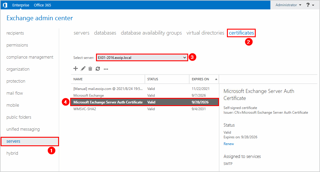Renew Microsoft Exchange Server Auth Certificate EAC