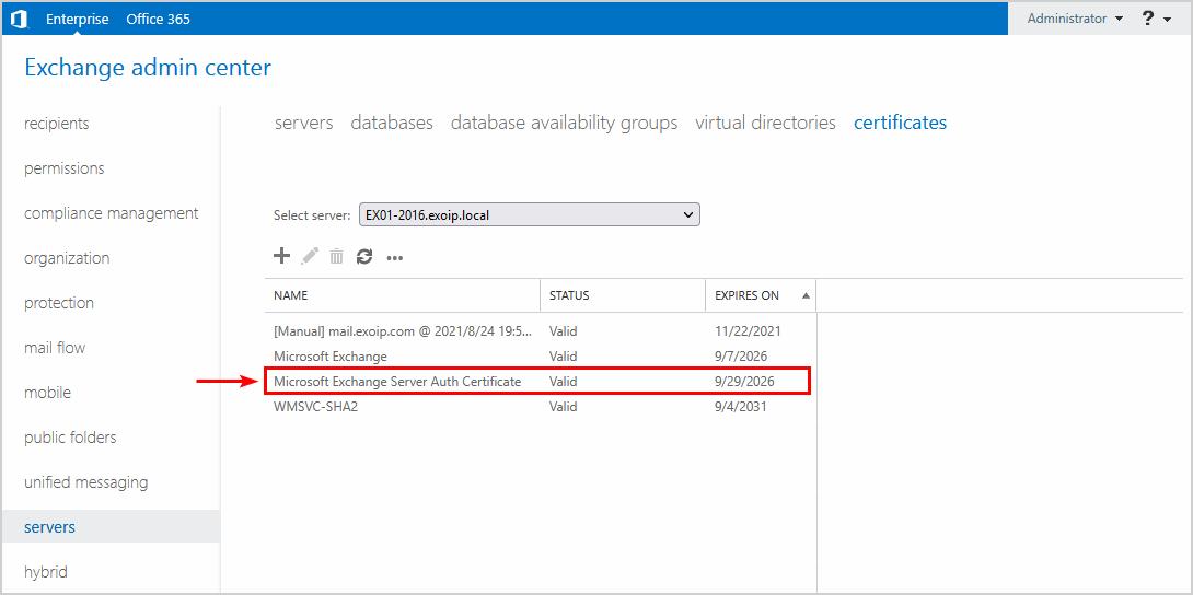 Renew Microsoft Exchange Server Auth Certificate final result