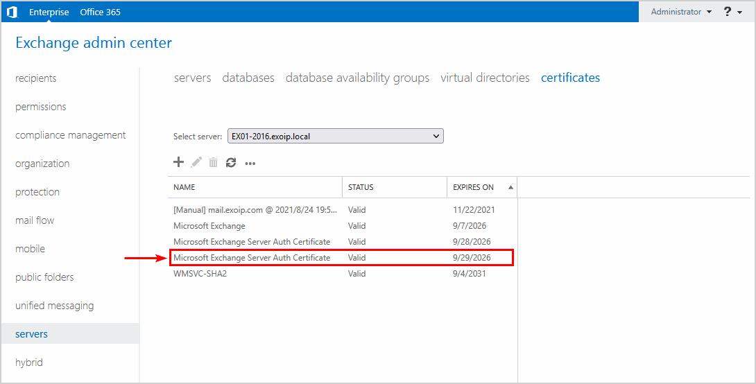 Renew Microsoft Exchange Server Auth Certificate new