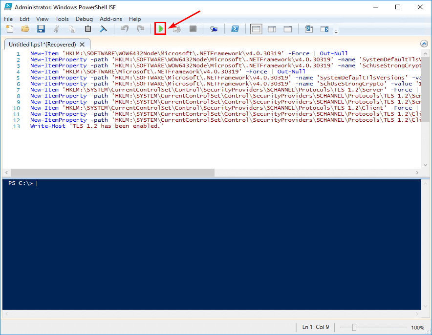 Enable TLS 1.2 PowerShell script