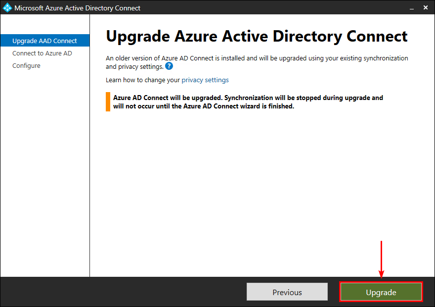 Upgrade Azure AD Connect to V2.0 upgrade main screen