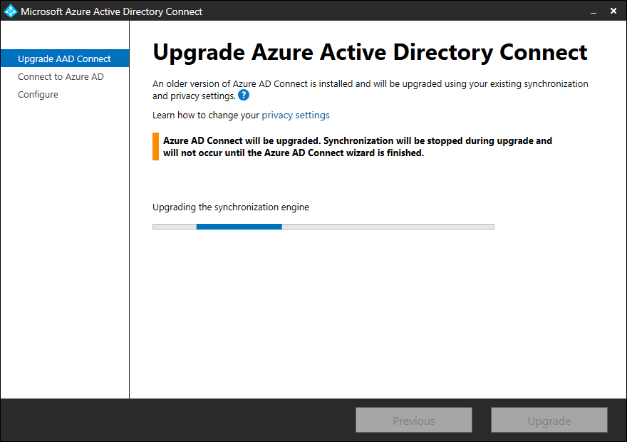 Upgrade Azure AD Connect to V2.0 upgrading the synchronization engine