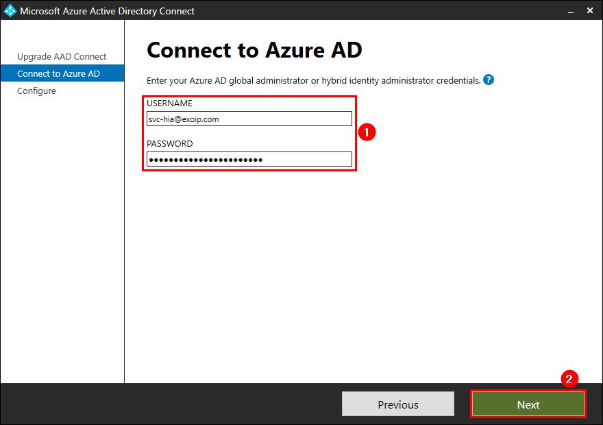 Upgrade Azure AD Connect to V2.0 enter global administrator credentials