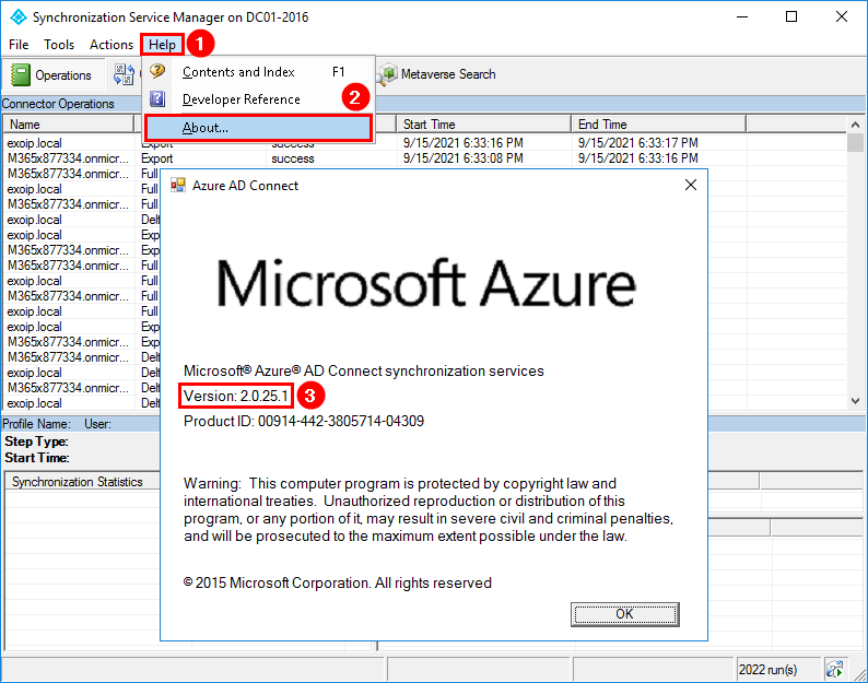 Upgrade Azure AD Connect to V2.0 verify version