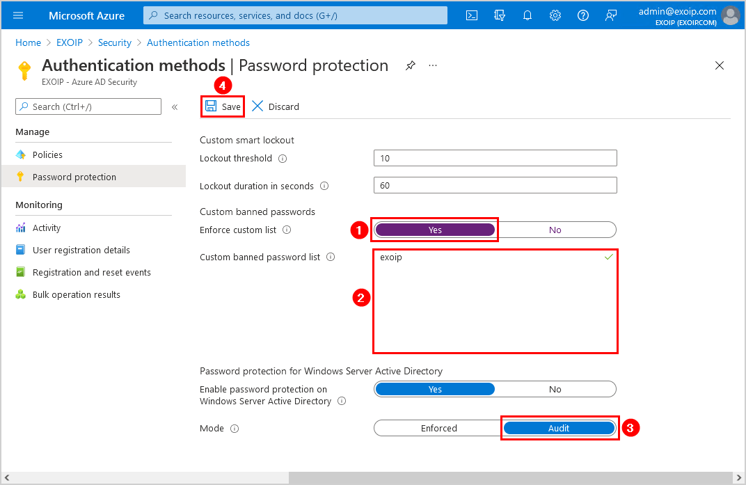Configure Azure AD Password Protection for on-premises audit mode
