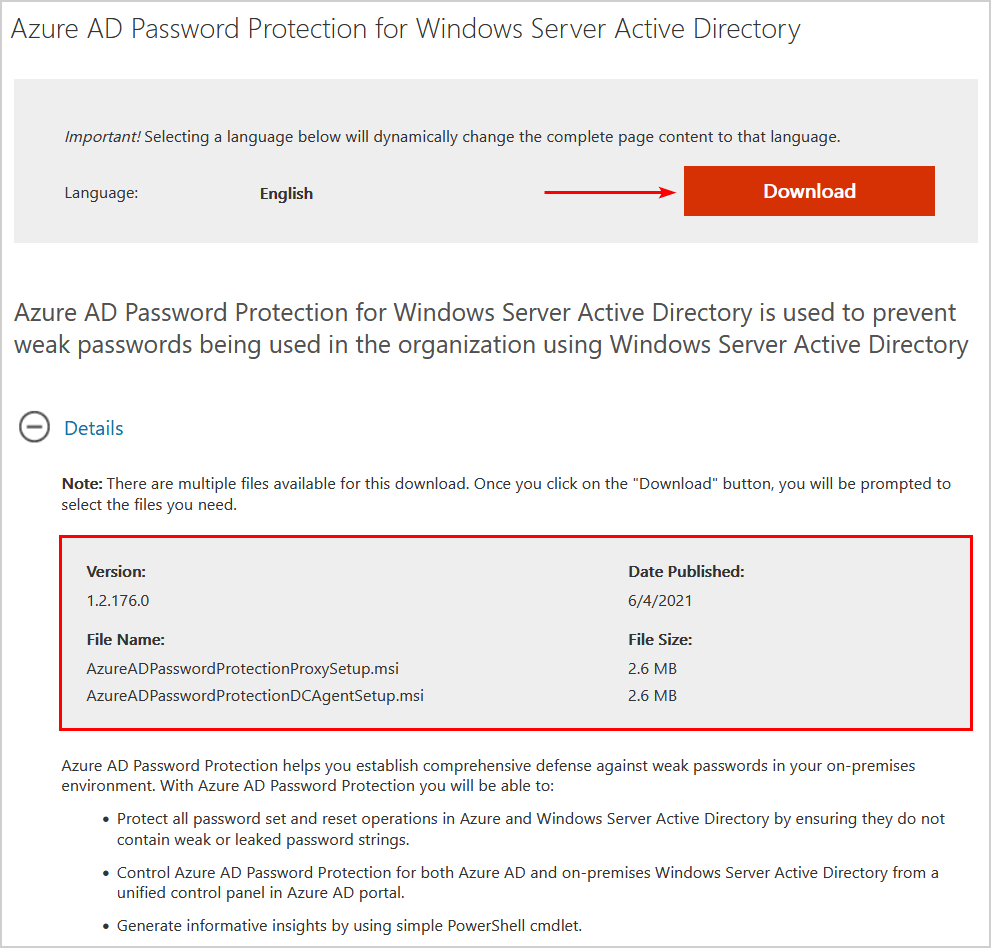 Configure Azure AD Password Protection for on-premises download installers