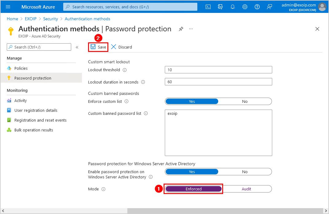 Configure Azure AD Password Protection for on-premises enforced mode
