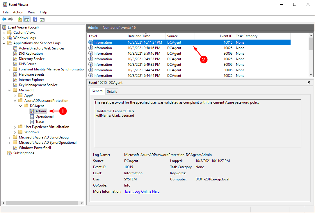 Configure Azure AD Password Protection for on-premises event 10015