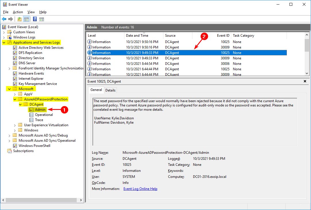 Configure Azure AD Password Protection for on-premises event 10025