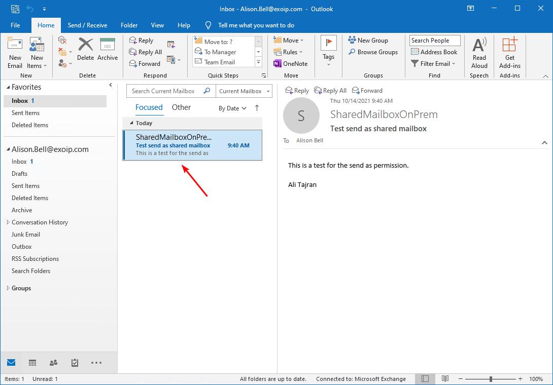 Configure permissions in Exchange hybrid send as test verify